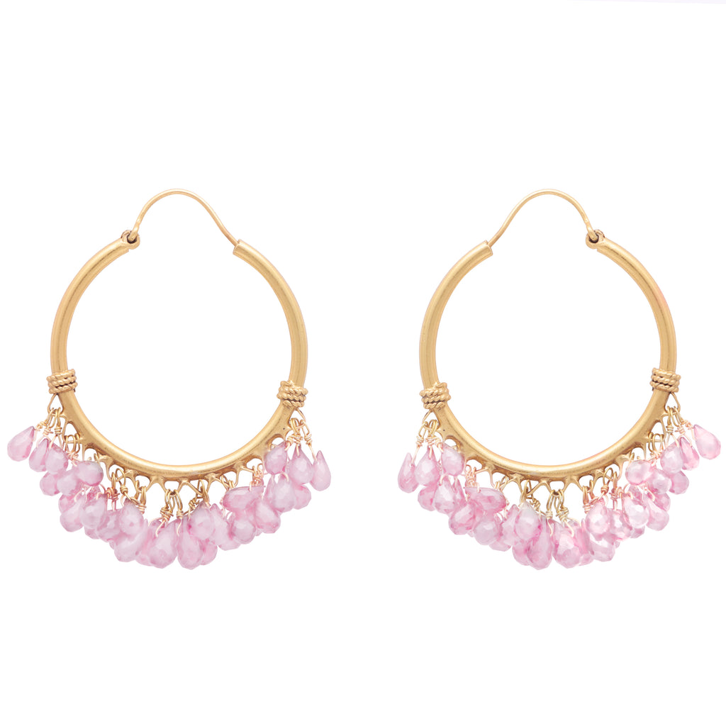 Rose quartz cluster hoops
