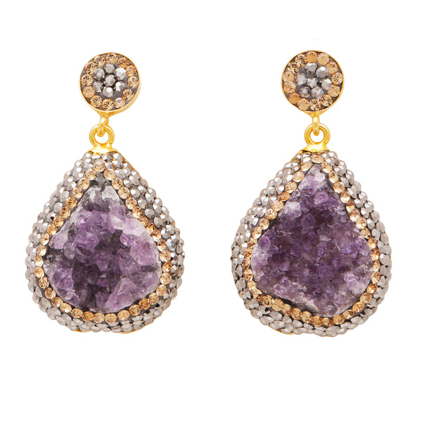 Rough cut amethyst drop earrings
