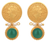 Gold coin, pearl and green onyx earrings