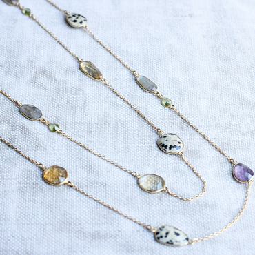 Labradorite, peridot, jasper, citrine and amethyst necklace