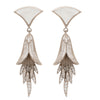 Silver mother of pearl and crystal heirloom earrings