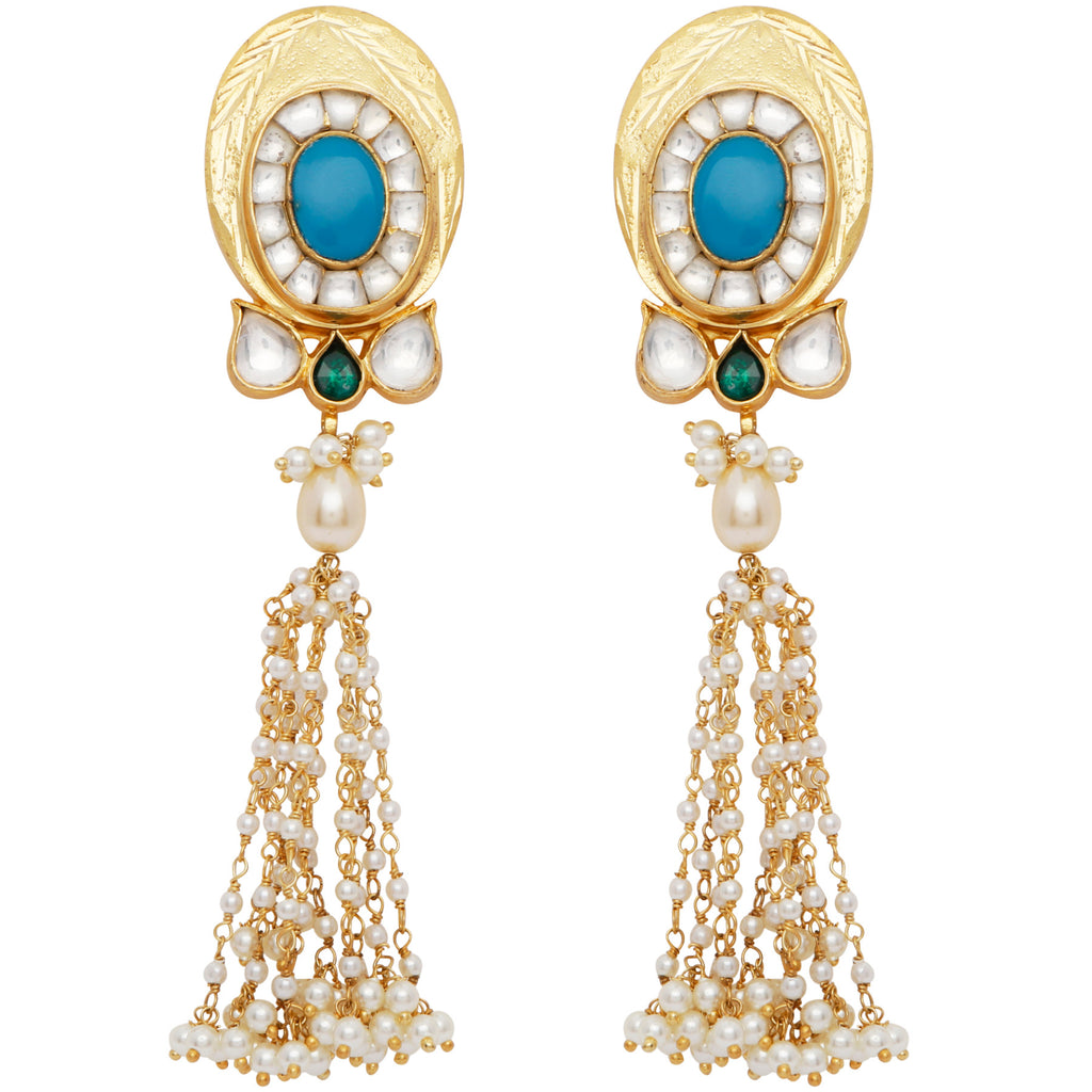 Turquoise and pearl statement long earrings