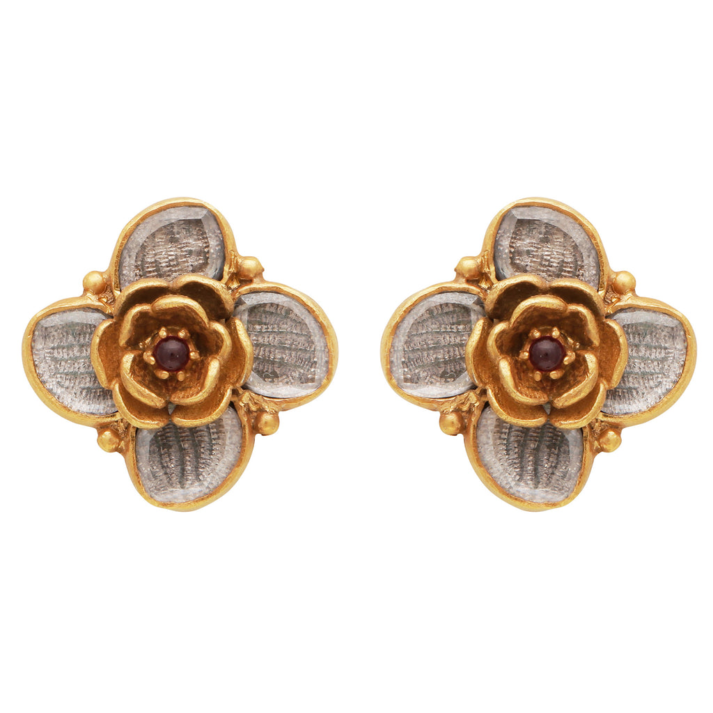 Textured floral studs