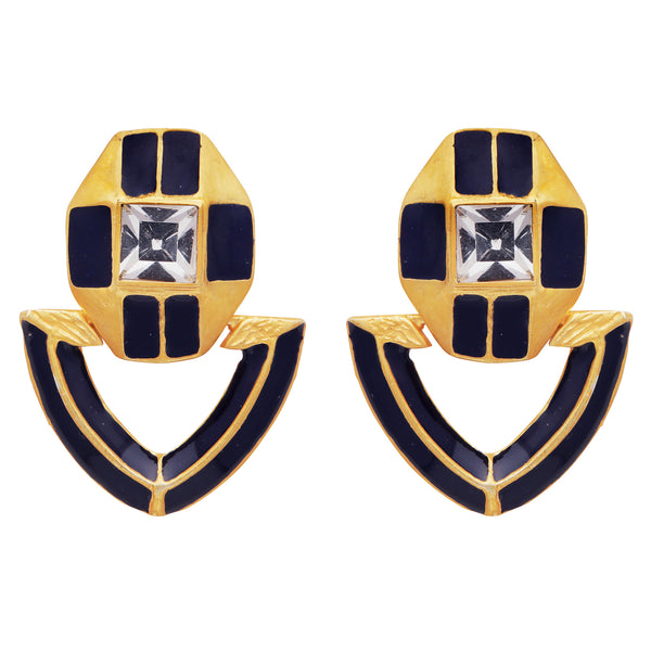 Gold and blue enamel trophy earrings