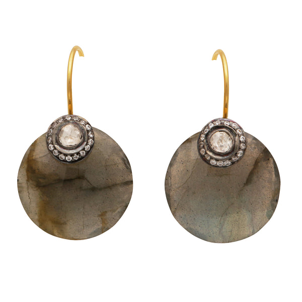 Labradorite crystal disc earrings