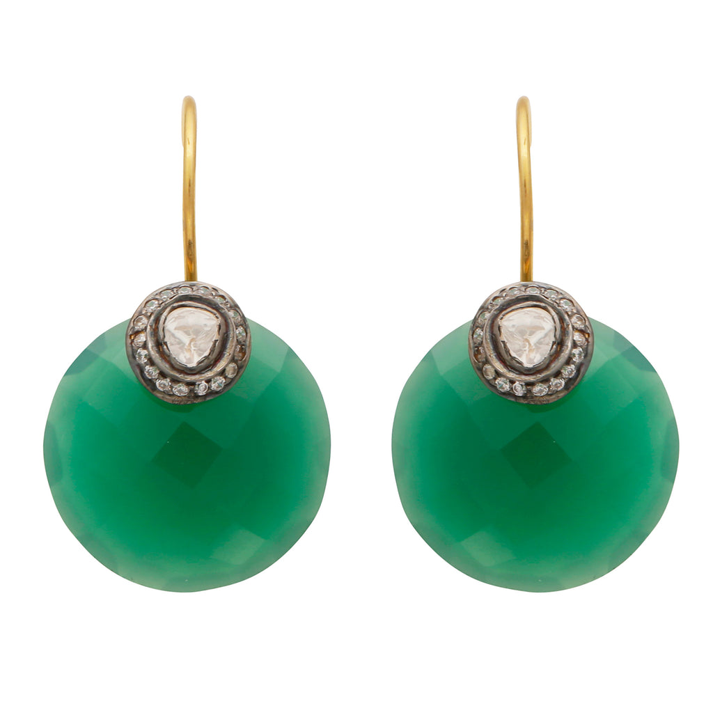 Green onyx crystal disc earrings