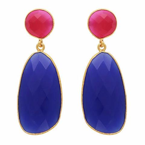 Symmetrical double drop fuchsia chalcedony and blue quartz earrings