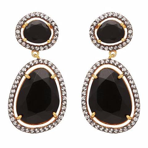 Black onyx and crystal drop earrings