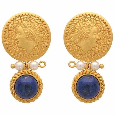 Gold coin, pearl and lapis earrings