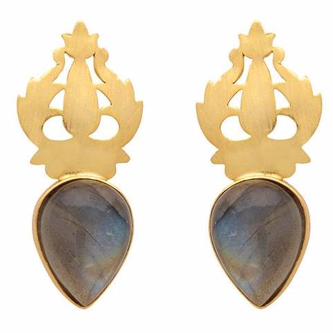 Hand-carved gold and labradorite earrings