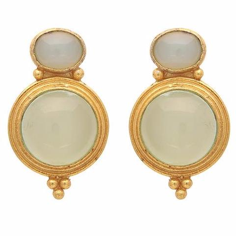 Gold and chalcedony curio earrings