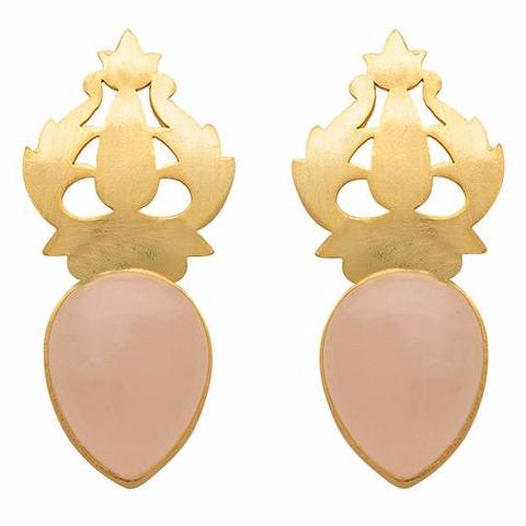 Hand-carved gold and rose quartz earrings