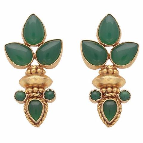 Elegant multi green onyx gold earrings