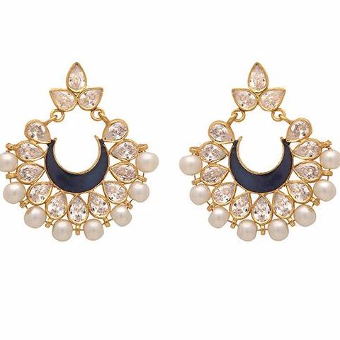 Intricate pearl cluster and blue crystal earrings
