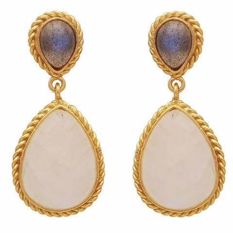 Intricate gold labradorite and moonstone double drop earrings