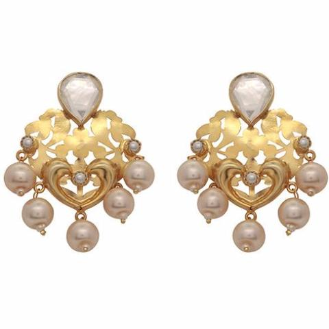 Pearl and crystal statement earrings
