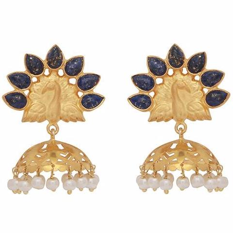 Lapis peacock chandelier earrings