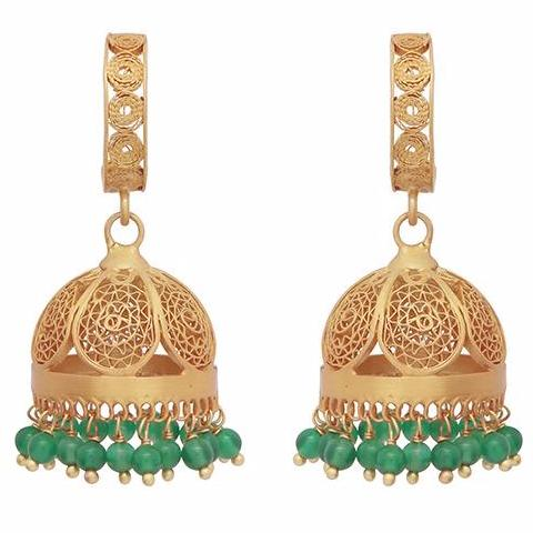 Gold and green onyx chandelier statement earrings