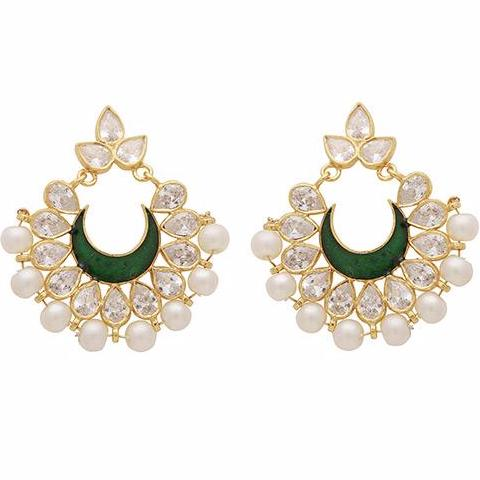 Intricate pearl cluster and green crystal earrings