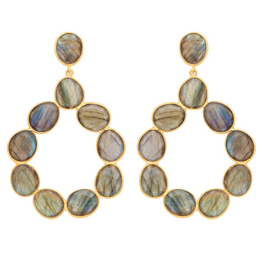 Elegant labradorite gold statement hoops