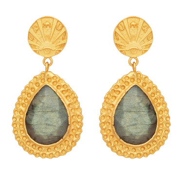 Golden lucky coin and labradorite earrings