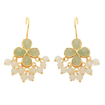 Delicate aventurine and moonstone gold cluster earrings