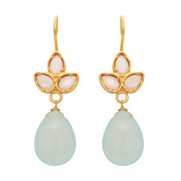 Delicate chalcedony and crystal drops