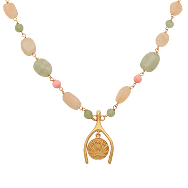 Golden lucky coin short pastel gemstone necklace