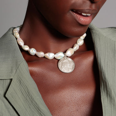 Antique silver coin and baroque pearl necklace