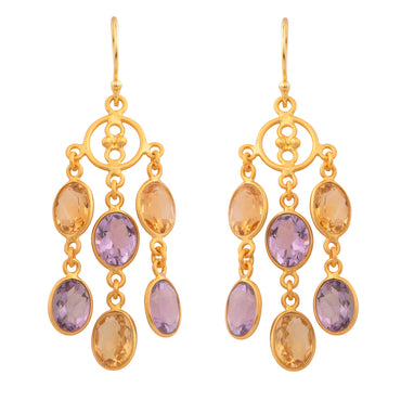 Elegant amethyst and citrine dangle earrings