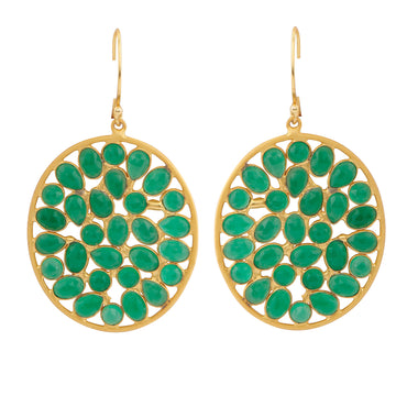 Sliced green onyx oval gold drop earrings
