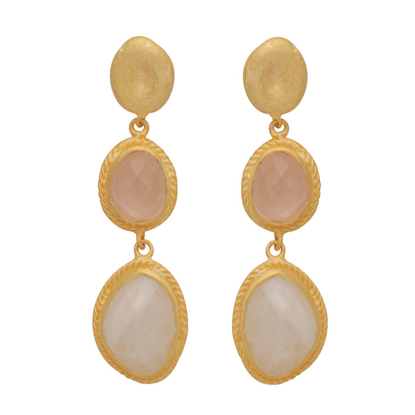Gold nugget with rose topaz and moonstone earrings