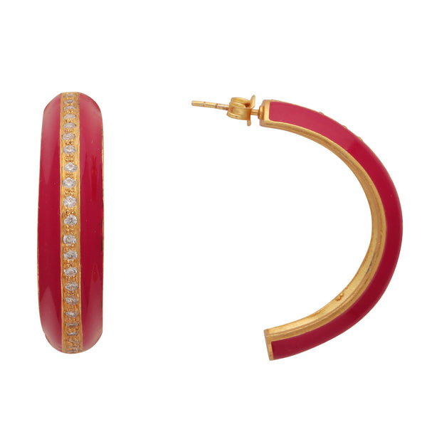 Gold and pink crystal enamel large hoops