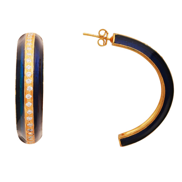 Gold and blue crystal enamel large hoops