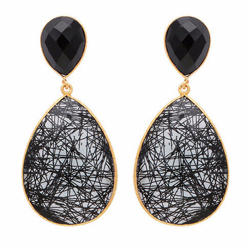 Black onyx and rutile quartz drop earrings