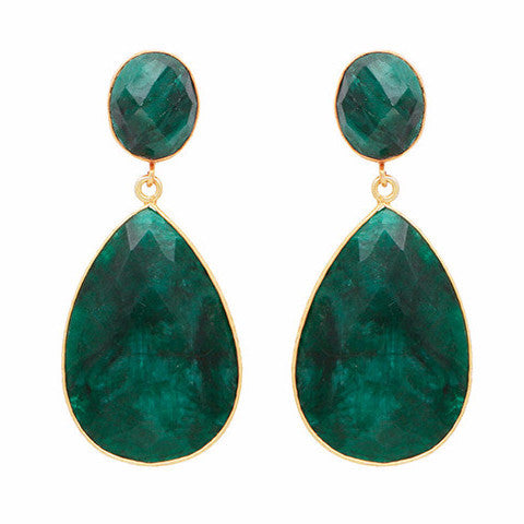 Double drop dyed emerald earrings