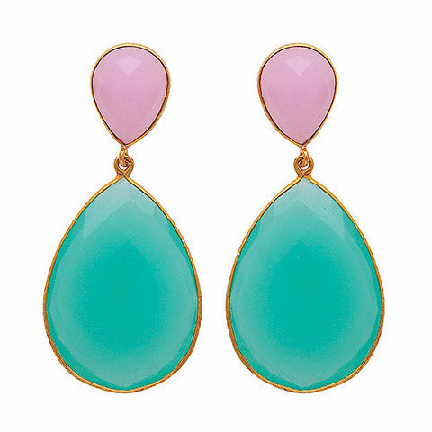 Double drop rose quartz and aqua chalcedony earrings