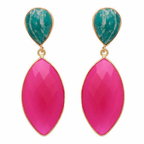 Amazonite and fuchsia chalcedony double drop long earrings