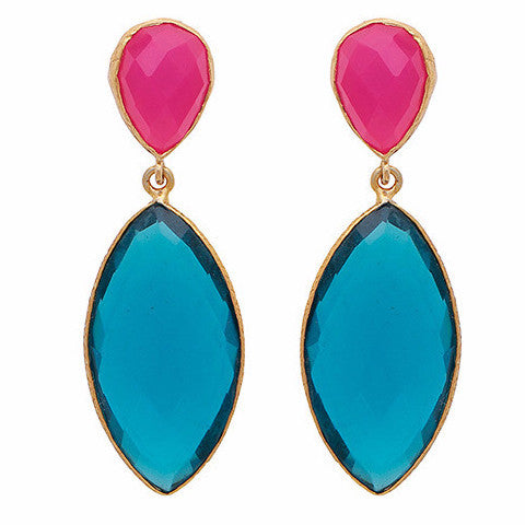 fuchsia chalcedony and blue quartz double drop long earrings