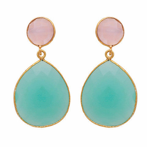 Rose quartz and aqua chalcedony double drop earrings