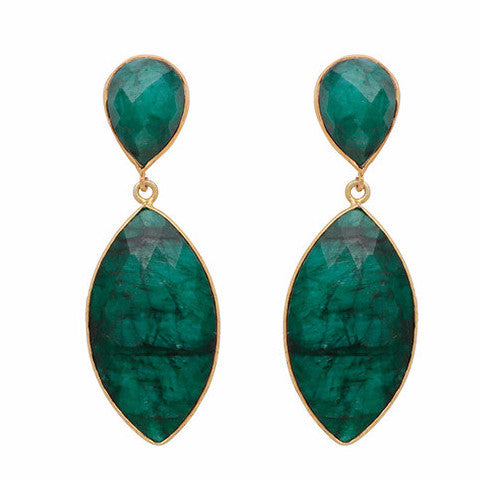Dyed emerald double drop long earrings