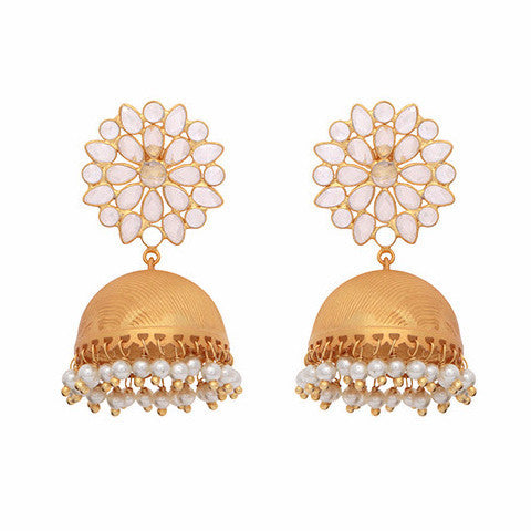 Crystal and pearl chandelier statement earrings