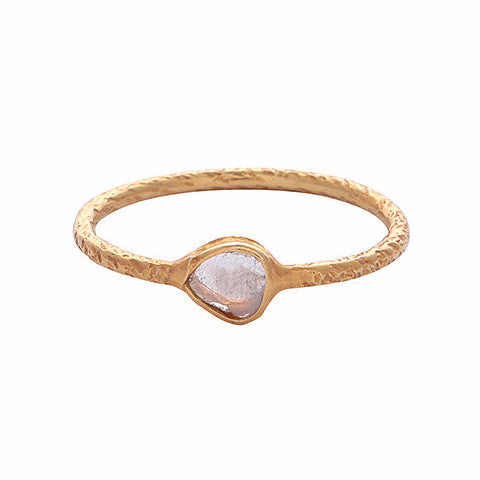 Solid gold sliced diamond stacking ring