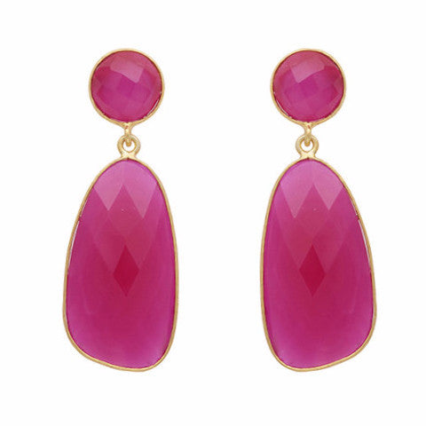Fuchsia chalcedony symmetrical double drop earrings