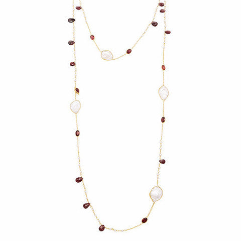 Garnet and pearl gemstone necklace
