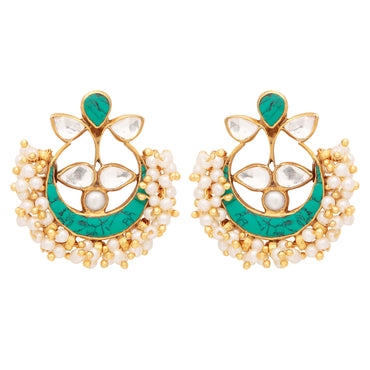 Intricate pearl cluster and turquoise earrings