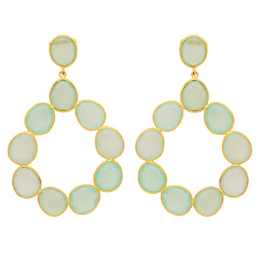 Elegant aqua chalcedony gold statement hoops