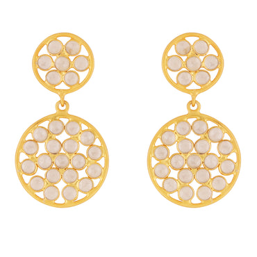 Celestial sliced crystal gold drop earrings