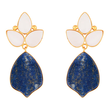 Regal lapis and mother of pearl gold drop earrings