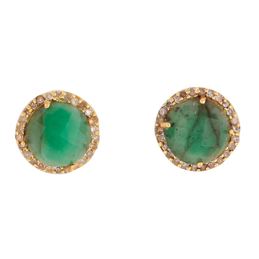 18 Carat solid gold emerald and diamond studs